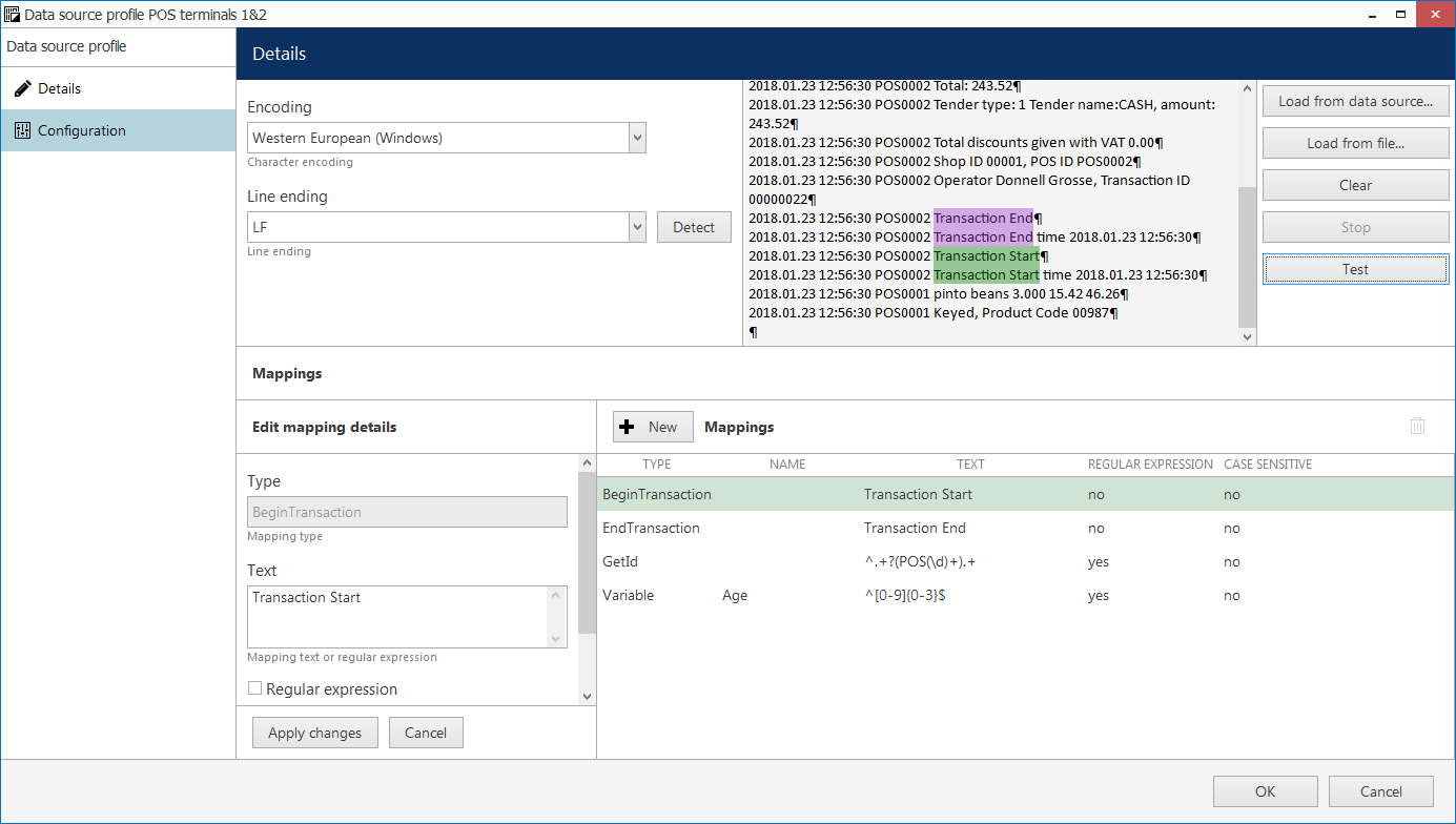 CORTROL2pos data source profile 170 - Split a single data stream between channels