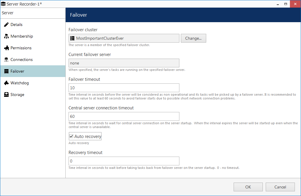 CORTROL3failover rec server settings - FAILOVER - important redundancy feature