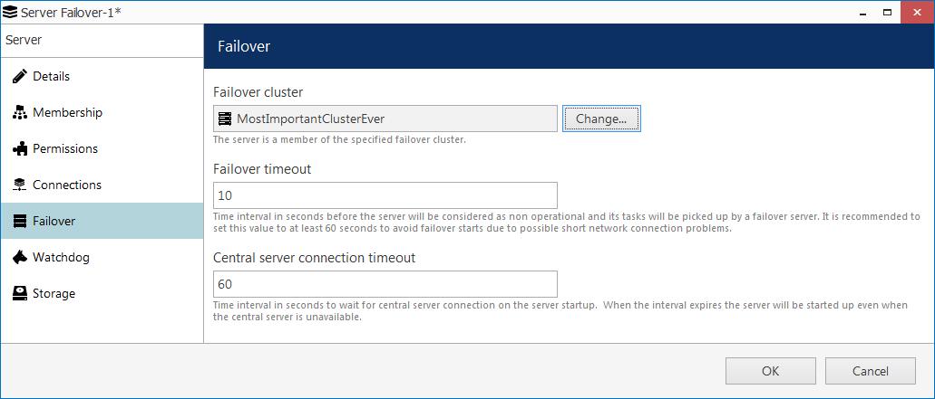 CORTROL5failover failover settings - FAILOVER - important redundancy feature